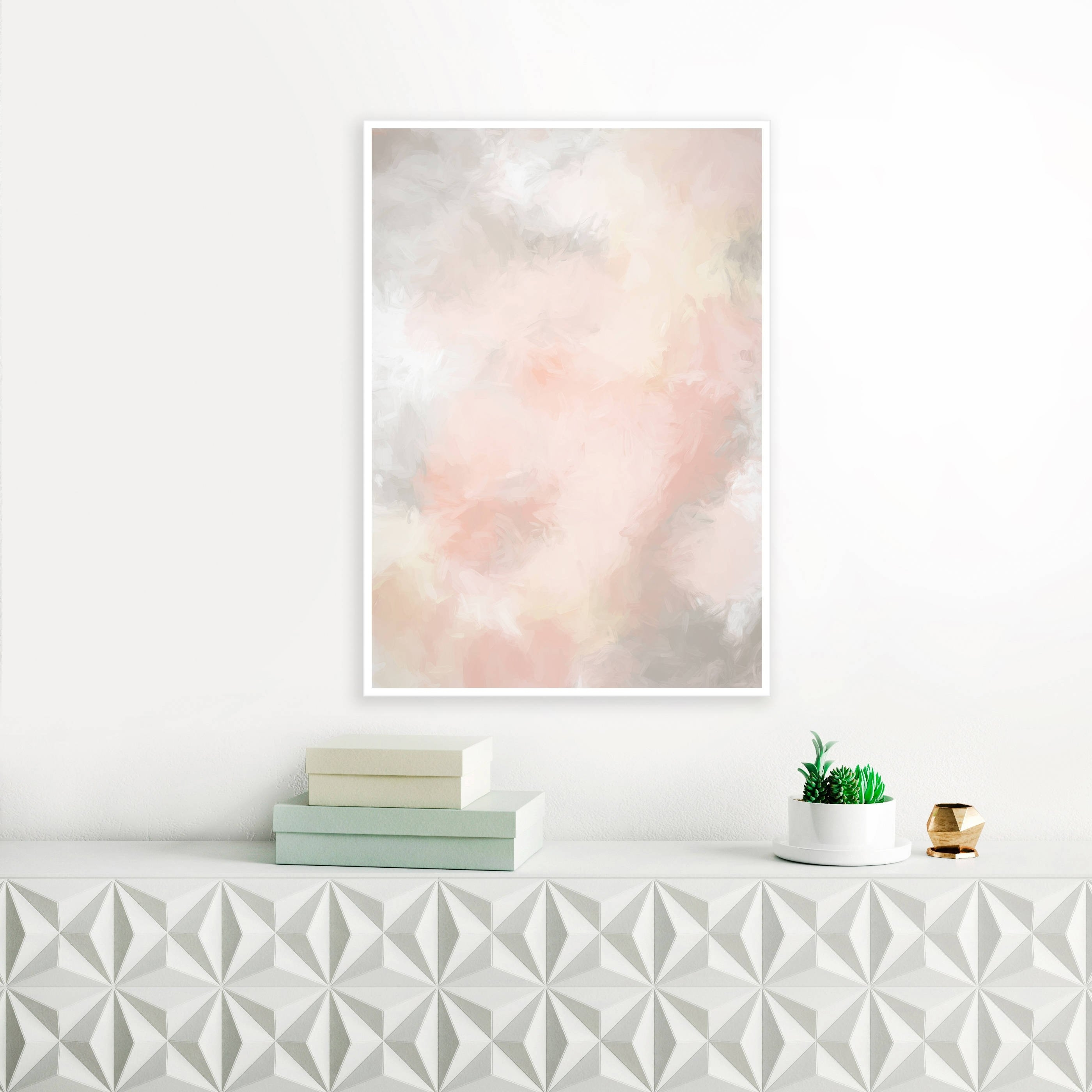 Blush Pink And Grey Painting, Pink Abstract Art, Pink Wall Art, Pale Throughout Latest Pink Wall Art (View 4 of 20)