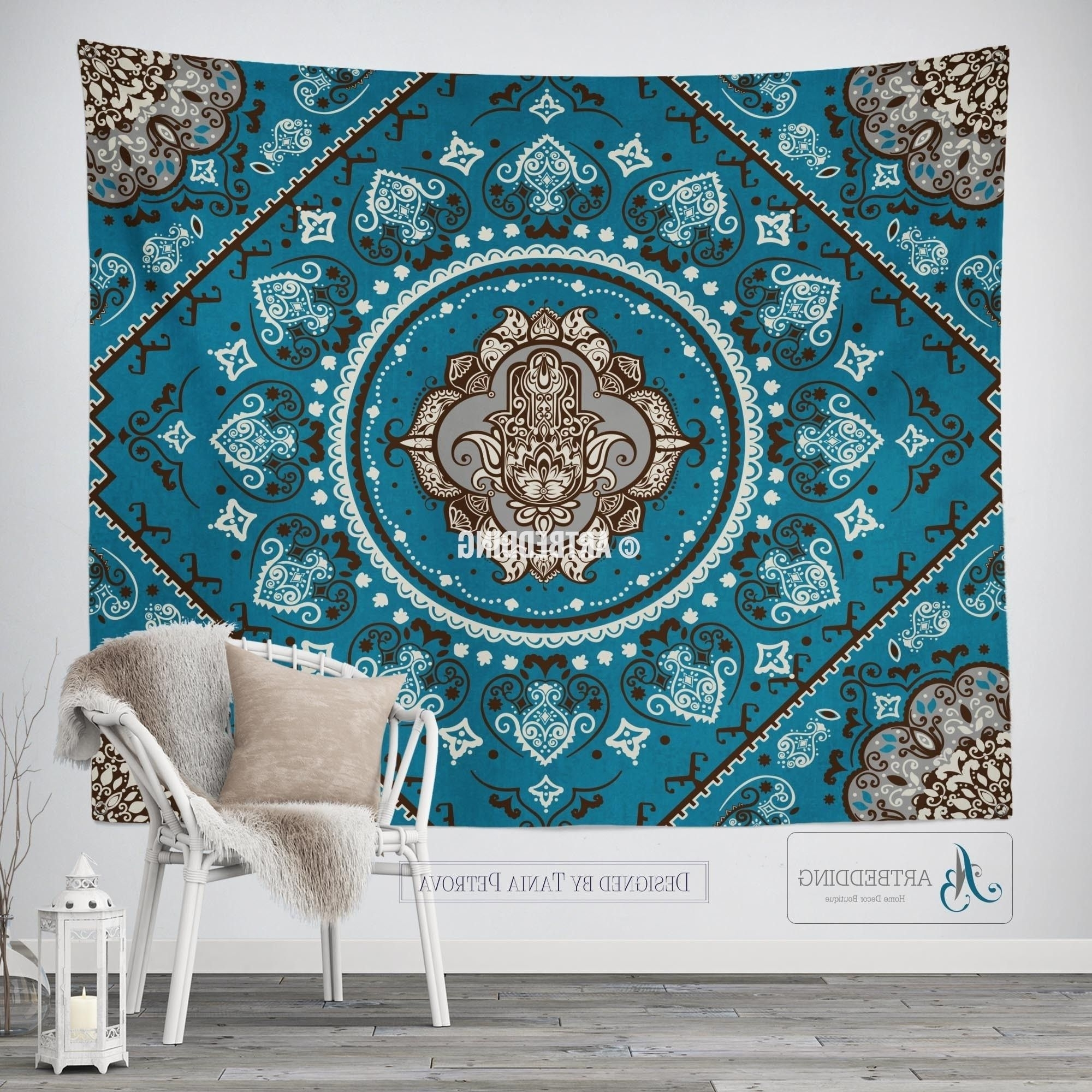 Bohemian Tapestry, Teal Hamsa Hand Vintage Mandala Wall Hanging Throughout Fashionable Bohemian Wall Art (View 2 of 20)