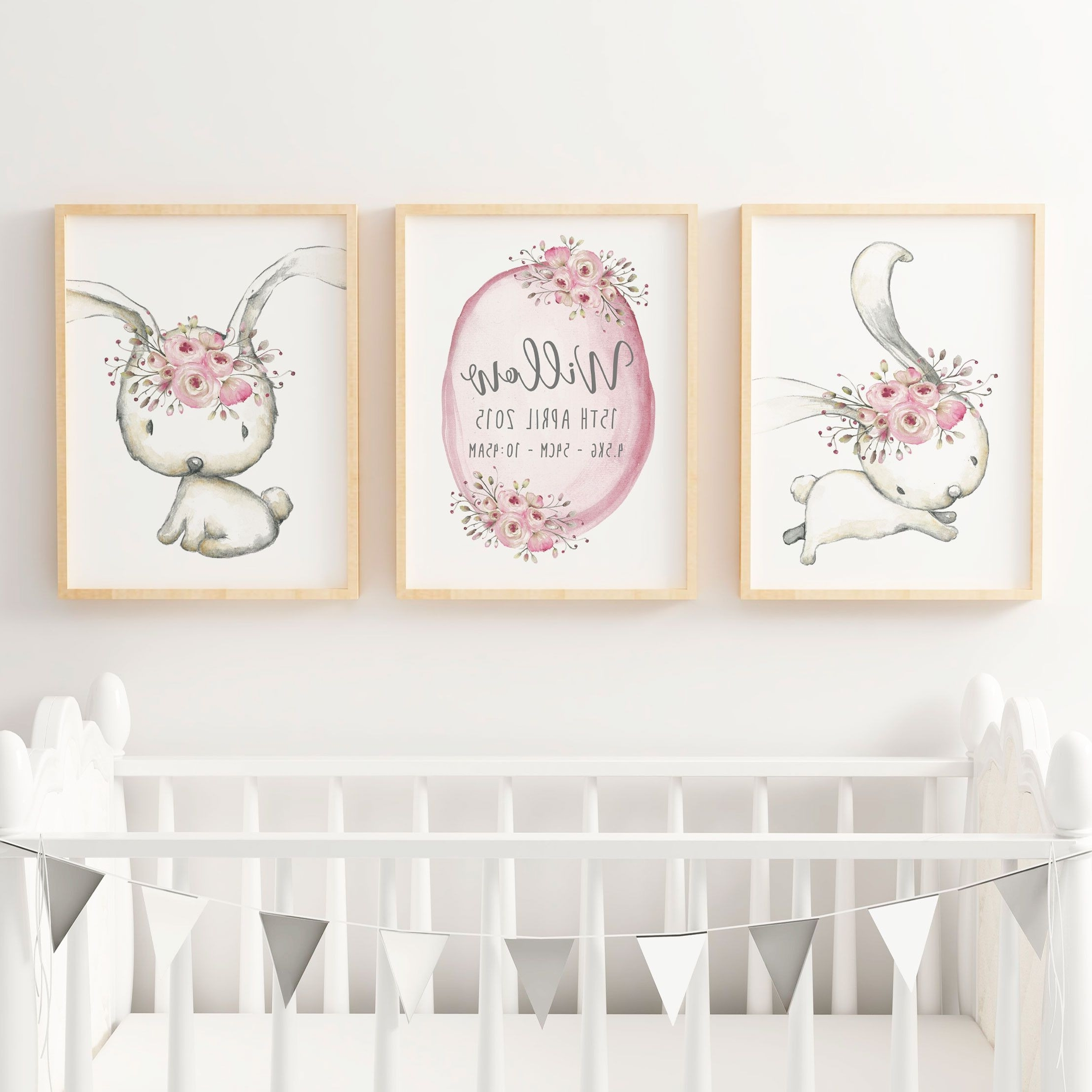 Bohemian Wall Art Intended For Current Baby Girls Woodland Boho Bunny Nursery Or Bedroom Wall Art Decor (View 6 of 20)