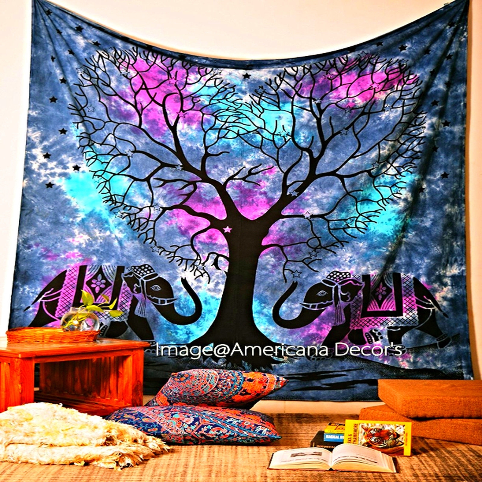 Bohemian Wall Art Pertaining To Fashionable Bohemian Wall Art Tapestry Tree Elephant Indian Bedspread Blanket (View 7 of 20)
