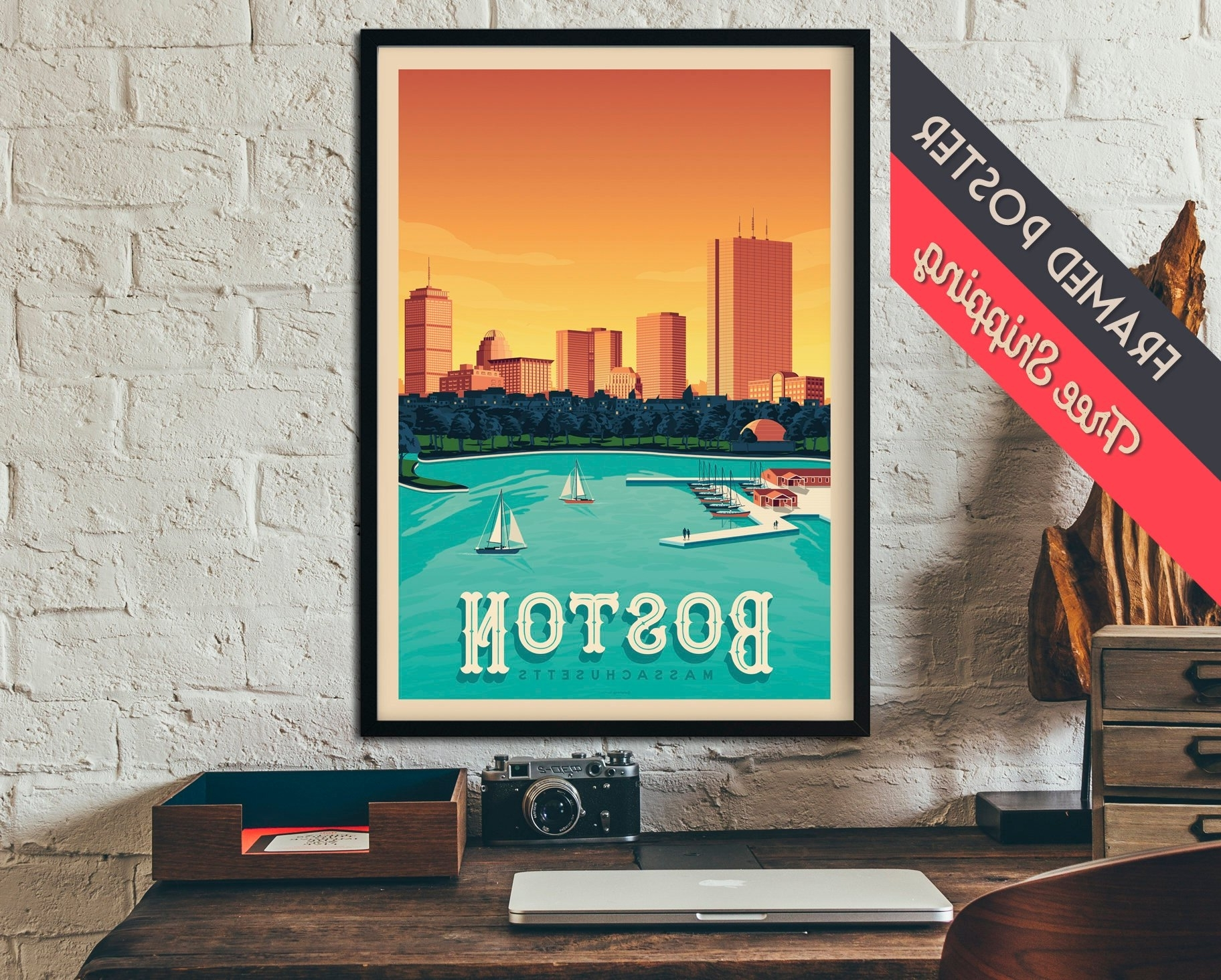 Boston Massachusetts Usa Travel Poster, Vintage Print, Framed Poster Within 2017 Boston Wall Art (View 19 of 20)