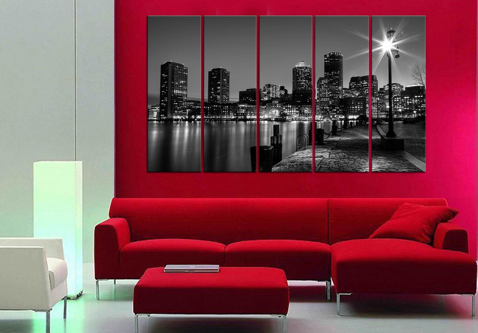 Boston Night 5 Piece Mounted Fiber Board Canvas Wall Art/better Than Pertaining To Current Boston Wall Art (Gallery 12 of 20)