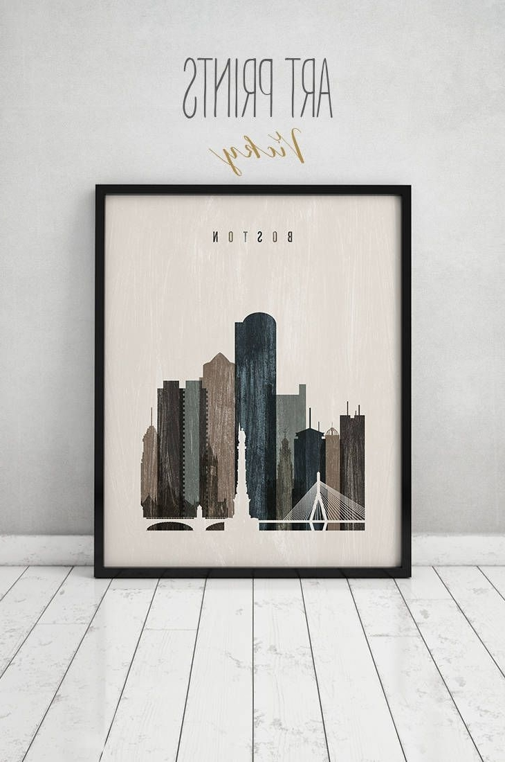 Boston Wall Art, Boston Art, Print, Boston Skyline, Poster Pertaining To Most Up To Date Boston Wall Art (View 4 of 20)