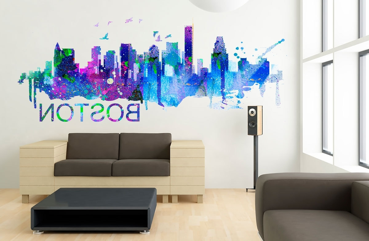 Boston Wall Art For Trendy Boston Art Skyline Watercolor Decal Sticker · Moonwallstickers (View 20 of 20)