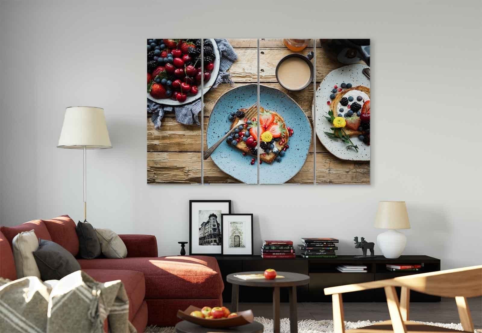 Breakfast Berries Toast Coffee Canvas & Glass Wall Art Pictures (Fw Inside Favorite Coffee Wall Art (View 2 of 15)