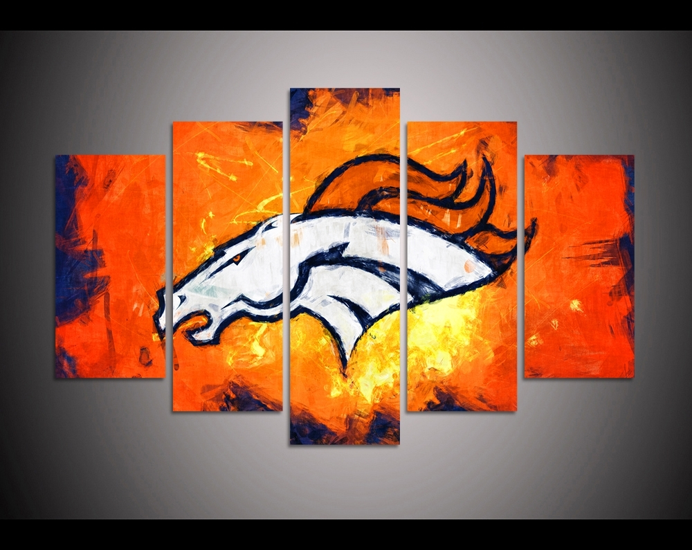 Broncos Wall Art For Fashionable 5 Panel Hd Printed Canvas Painting Sport Denver Broncos Canvas Print (Gallery 7 of 20)