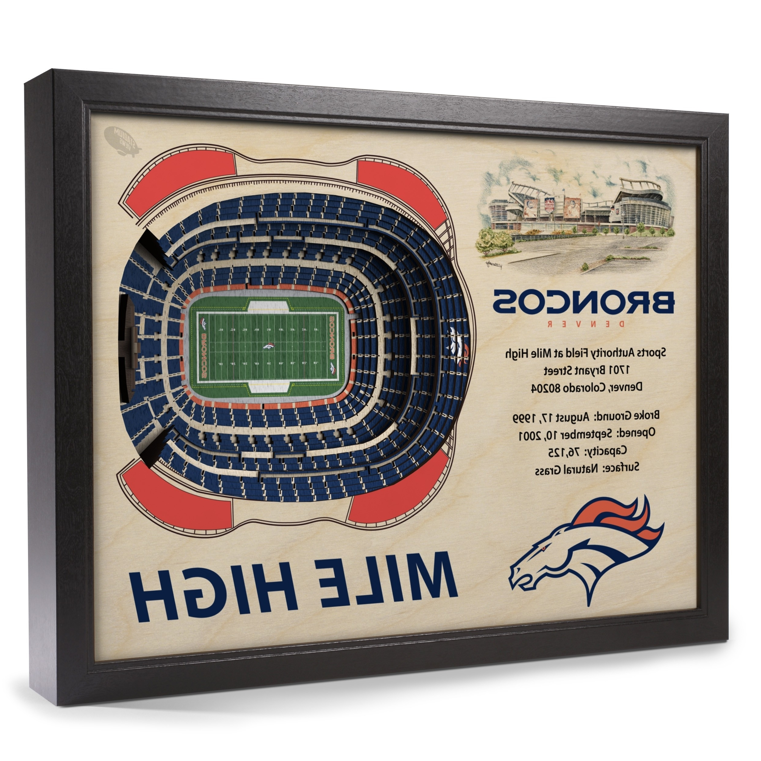 Broncos Wall Art With Regard To Latest Denver Broncos Stadiumview Wall Art – Sports Authority Field At Mile (View 15 of 20)