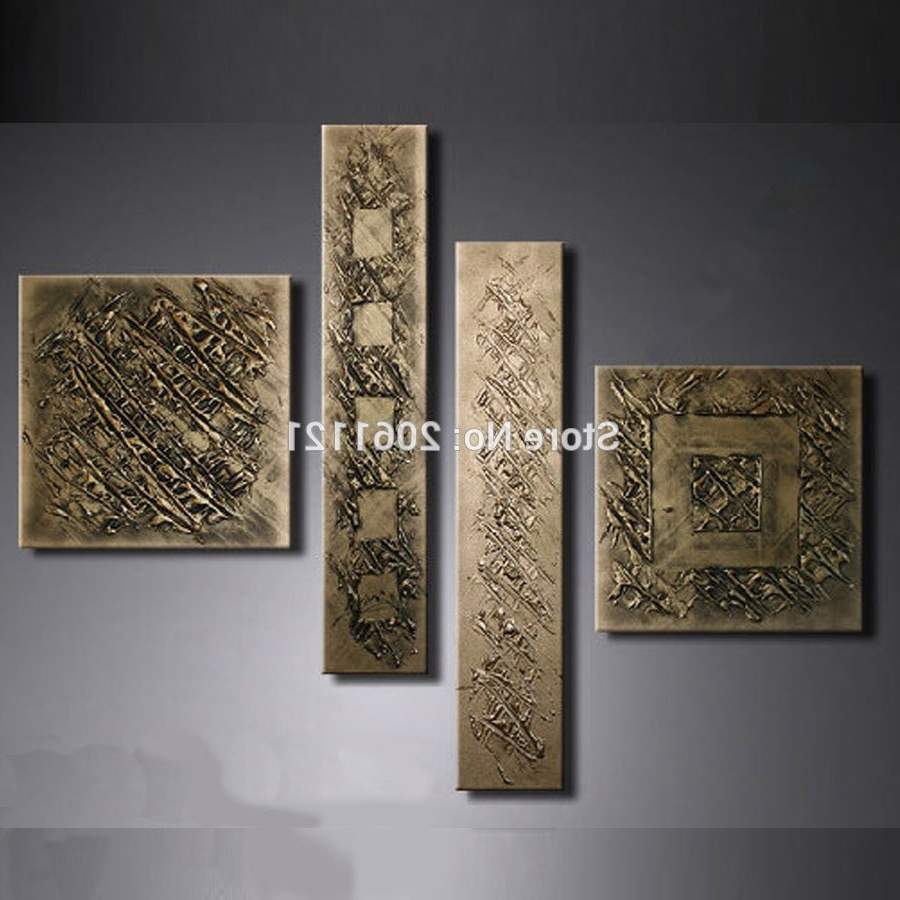 Bronze Wall Art Within Most Popular Hand Painted Retro Gilt Gunmetal Wall Painting Bronze Antigold (View 8 of 20)