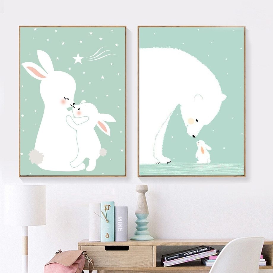 Bunny Wall Art In Most Up To Date Afflatus Kawaii Rabbit Nordic Poster Canvas Painting Wall Art Canvas (View 10 of 20)