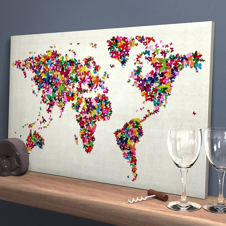 Butterflies Map Of The World Art Printartpause Throughout Well Known Map Wall Art Prints (View 1 of 20)