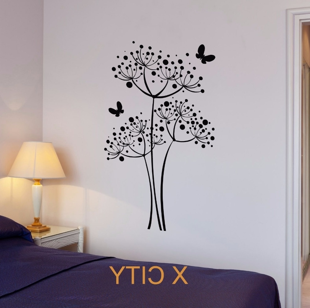 Butterfly Dandelion Flowers Wall Art Decal Sticker Removable Vinyl With Regard To 2017 Dandelion Wall Art (View 2 of 20)