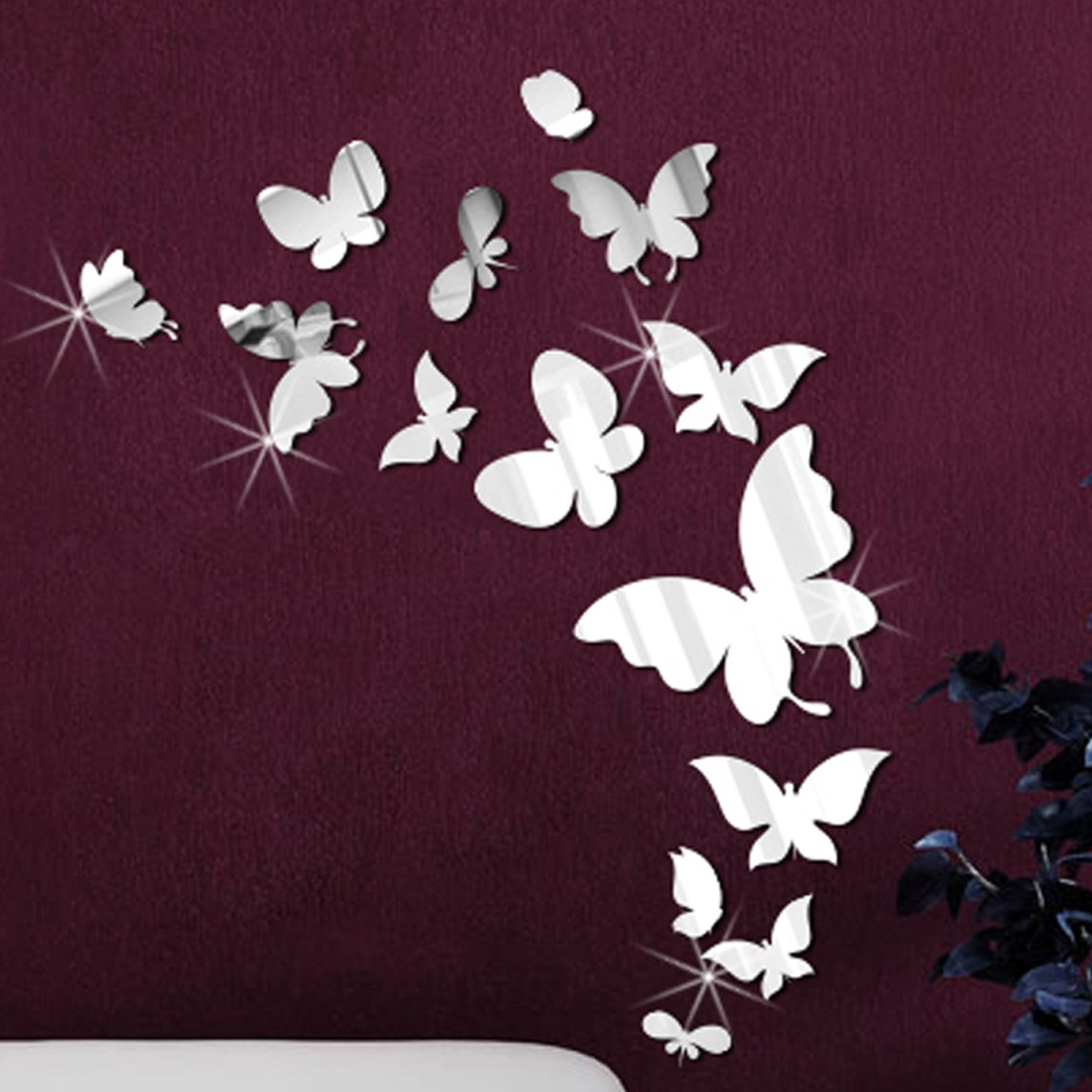 Butterfly Wall Art Pertaining To Most Recently Released Walplus 14 Mirror Butterflies Wall Art Wall Decal & Reviews (View 3 of 15)