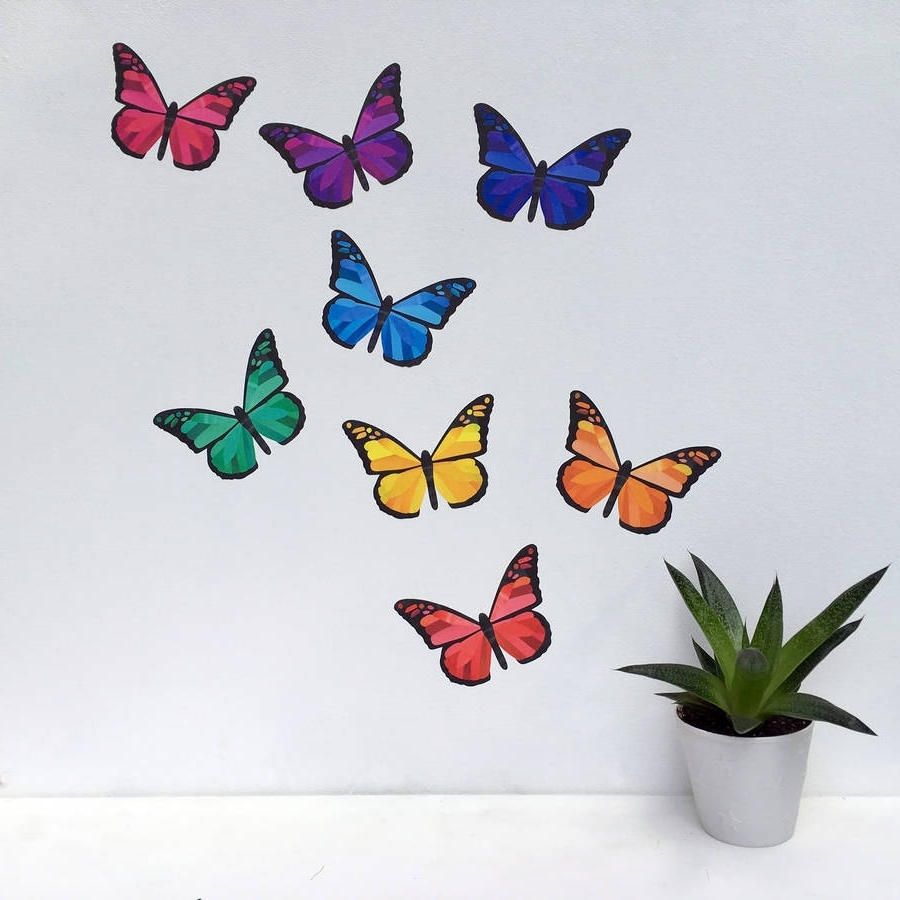 Butterfly Wall Art With Regard To Well Known Rainbow Butterfly Wall Stickerschameleon Wall Art (View 5 of 15)