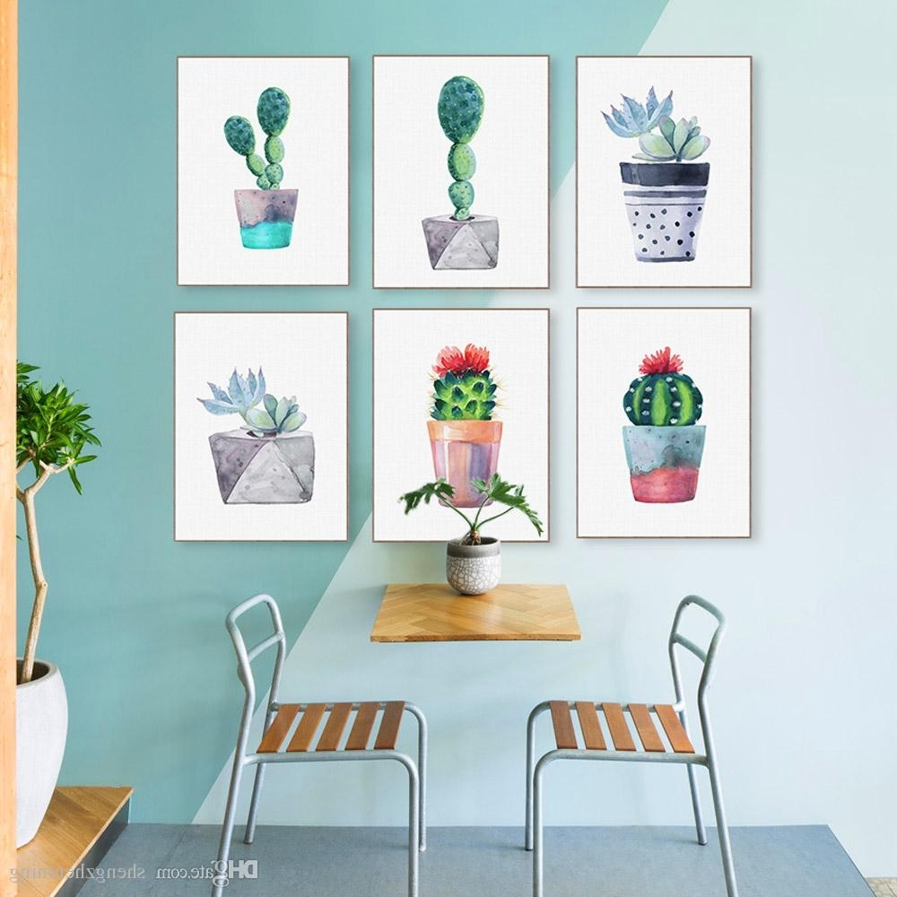 Cactus Wall Art With Regard To Most Popular 2018 Modern Watercolor Green Succulent Plant Cactus Poster Nordic (Gallery 3 of 20)