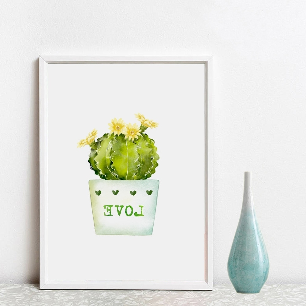 Cactus Wall Art Within Preferred Cacti Inspiration Wall Art Green Home Decor Love Gift Pictures (View 9 of 20)