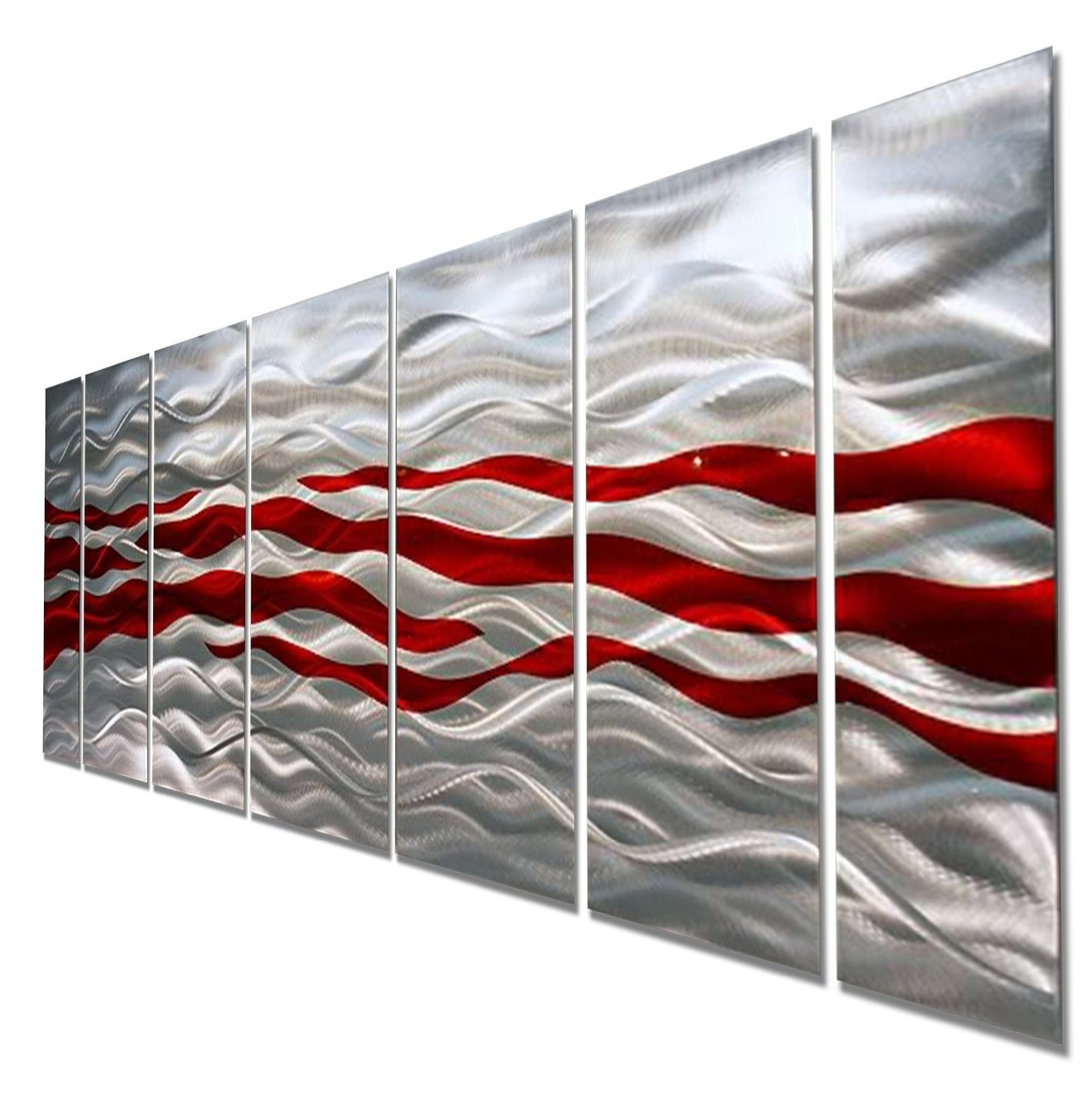 Caliente – Red & Silver Modern Abstract Metal Wall Artjon Allen In Famous Metal Wall Art Panels (View 4 of 20)