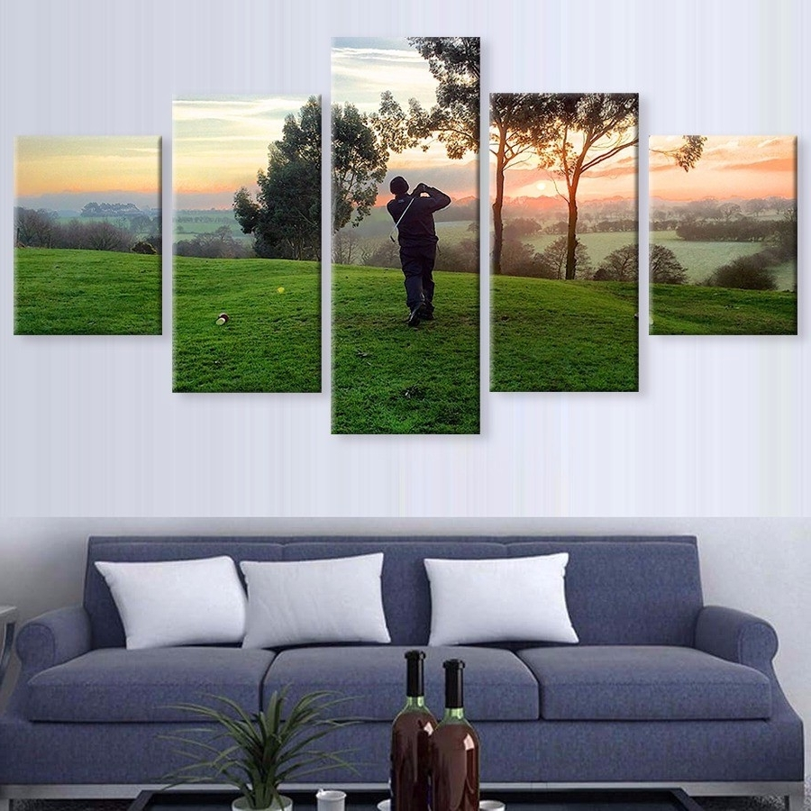 Canvas Painting 5 Panel Golf Ball Cuadros Home Decoration Sport Regarding Best And Newest Golf Canvas Wall Art (View 5 of 20)