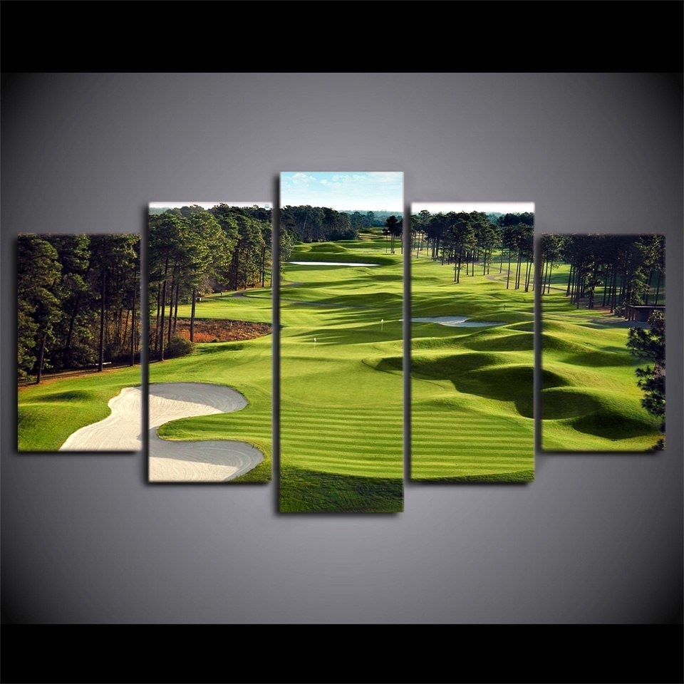 Canvas Paintings Printed 5 Pieces Golf Course Wall Art Canvas Throughout Favorite Golf Canvas Wall Art (View 3 of 20)