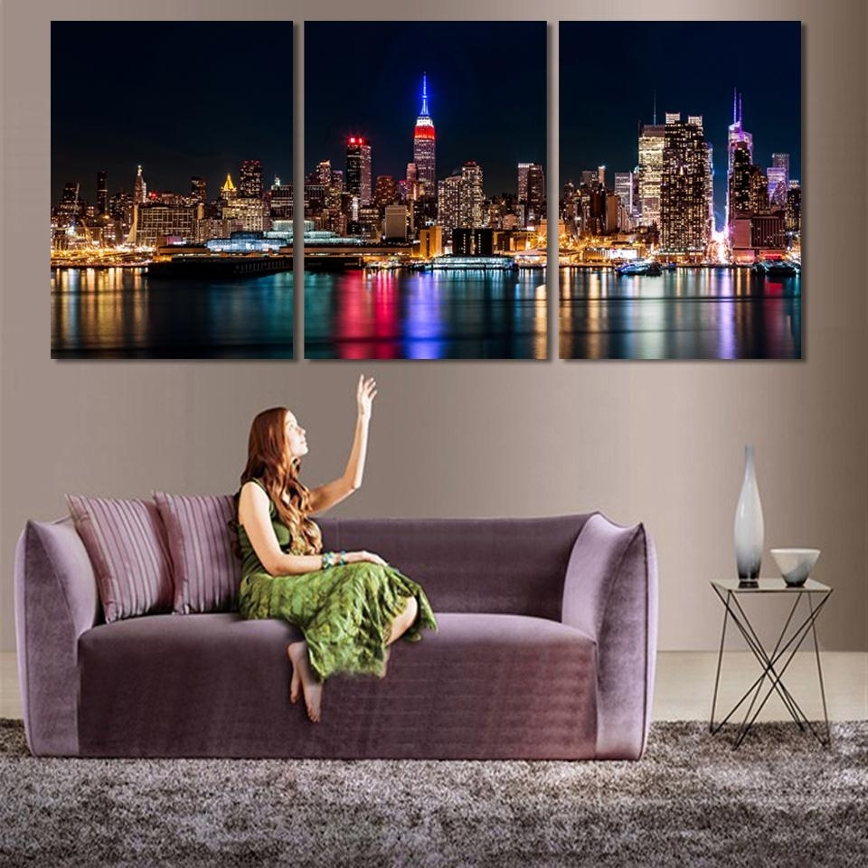 Canvas Wall Art Sets Pertaining To Popular 3 Piece/set Wall Art City Hall Night Lights Beside River Wall (View 1 of 15)
