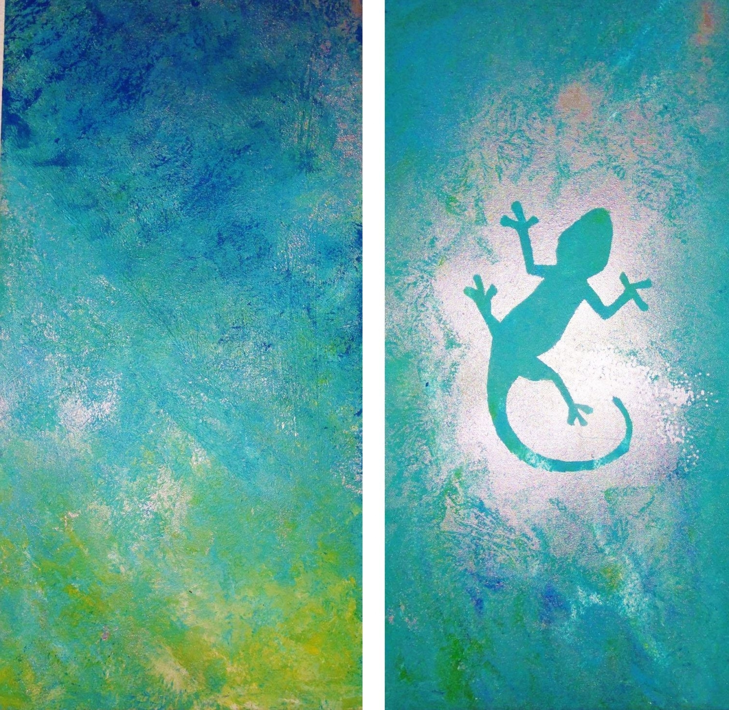 Canvas Wall Art – Turquoise Gecko — Original Unique Abstract Acrylic Regarding Preferred Gecko Canvas Wall Art (View 4 of 20)