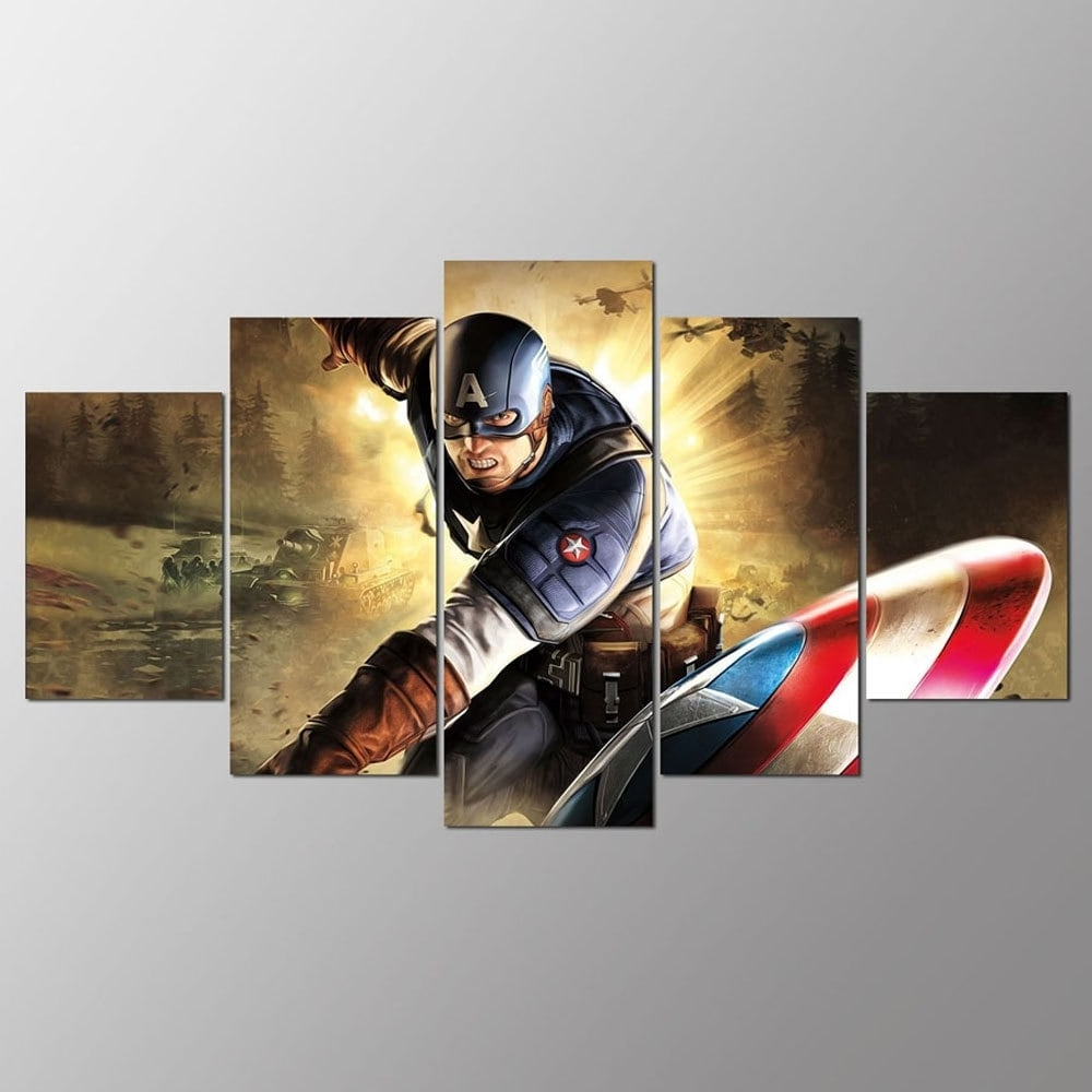 Captain America Wall Art With Recent Colormix 30X40Cmx2+30X60Cmx2+30X80Cmx1(12X16Inchx2+12X24Inc Ysdafen (View 5 of 15)