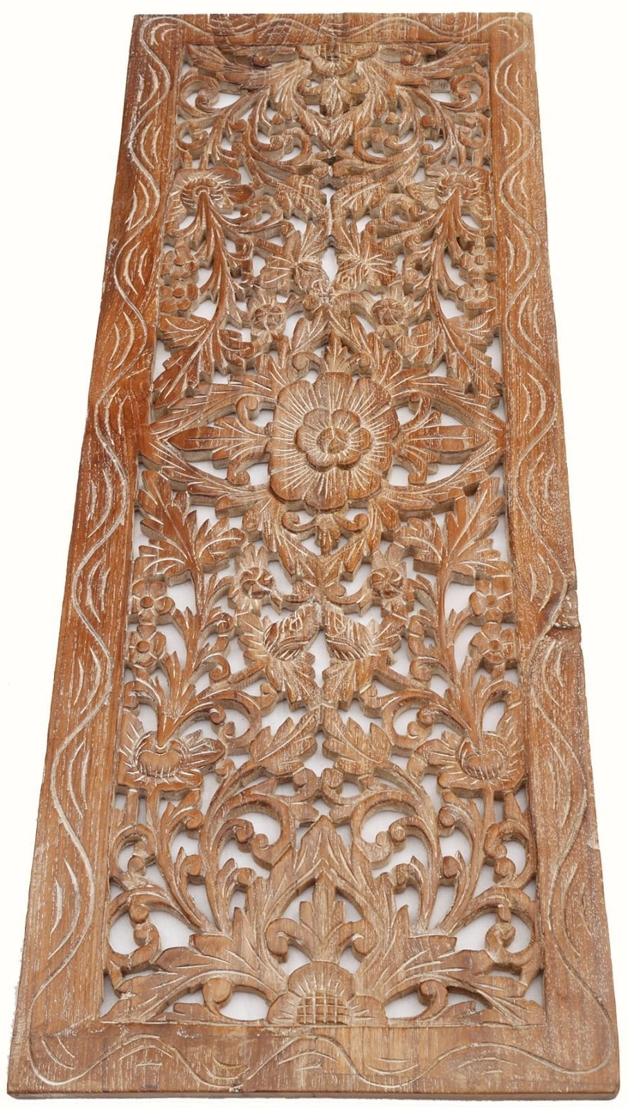 Carved Wood Wall Art For Most Recent Asian Carved Wood Wall Decor Panel. Floral Wood Wall Art (View 5 of 15)