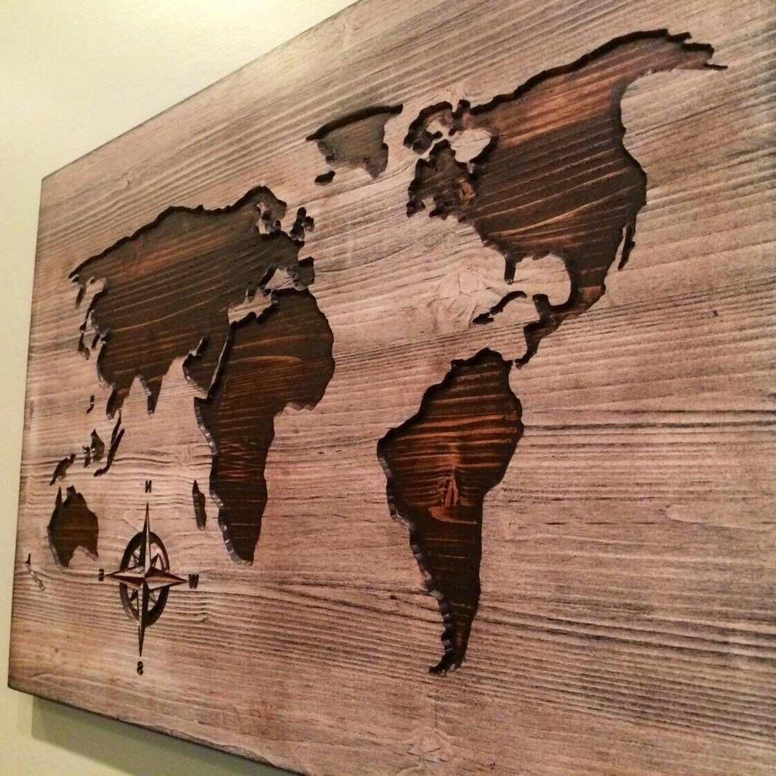 Carved, Wooden World Map, Wood Wall Art, World Map Home Decor, World Inside Most Recently Released Wood Map Wall Art (View 4 of 20)