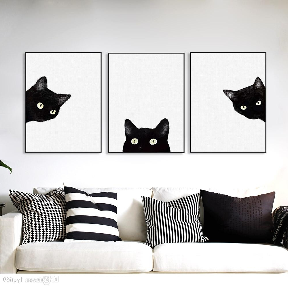 Cat Canvas Wall Art Throughout Well Known Online Cheap Black Cats Head Modern Cute Animal Canvas A4 Print (View 5 of 20)