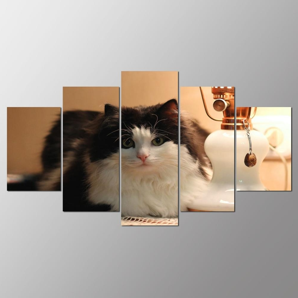 Cat Canvas Wall Art Within Most Up To Date Promotion 5 Pieces Canvas Painting Cat Canvas Wall Art Print (View 6 of 20)