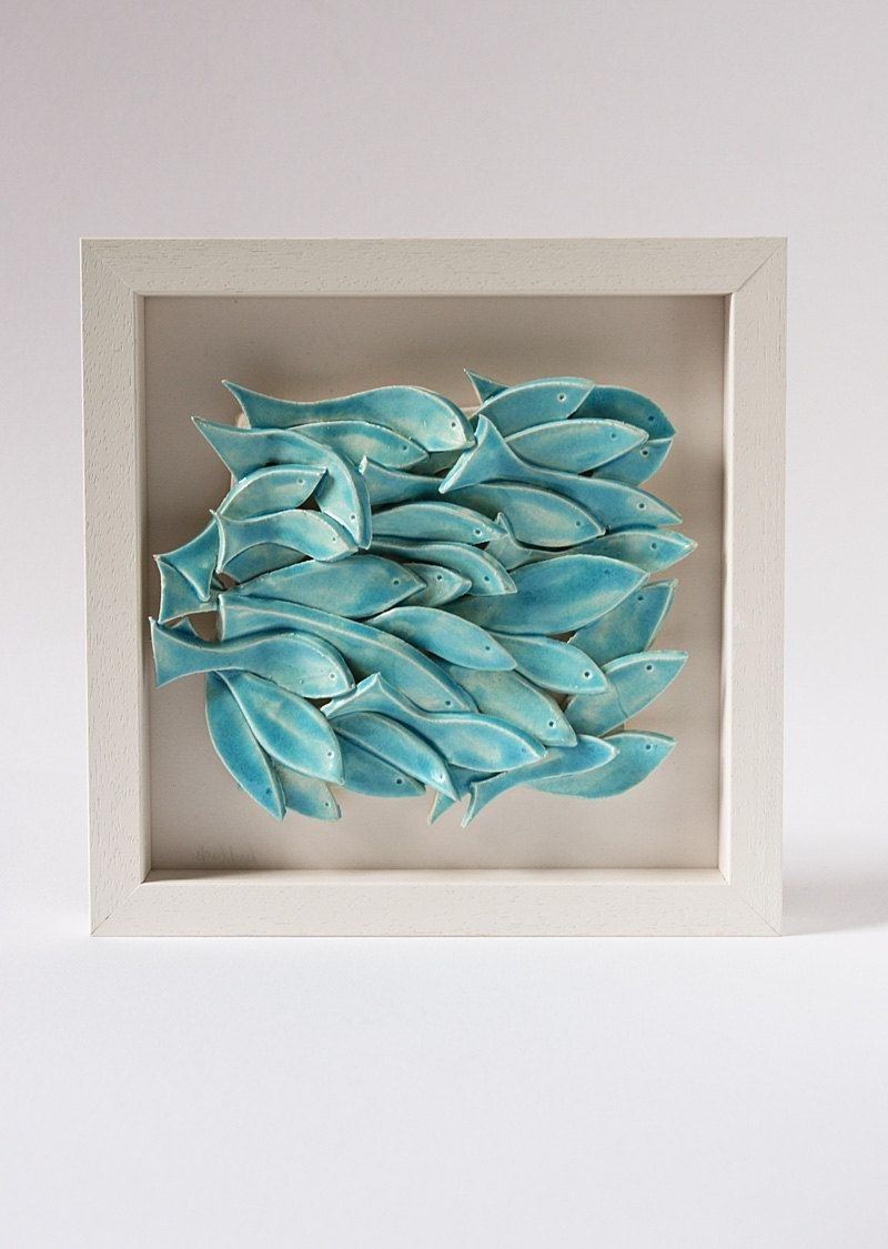 Ceramic Wall Art In Popular Ceramic Wall Art, Ceramic Fish Art, Sculptural Pottery Tile, Wall (View 5 of 20)