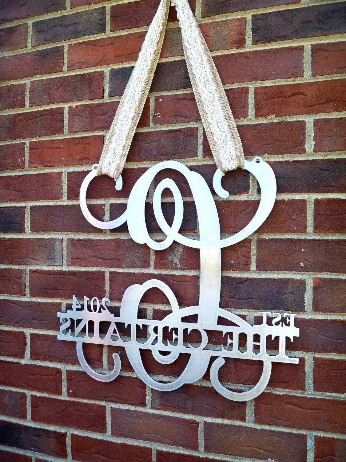 Certain: Established Monogram Door Sign, Metal Door Hanger, Door Throughout Well Known Personalized Metal Wall Art (View 3 of 20)