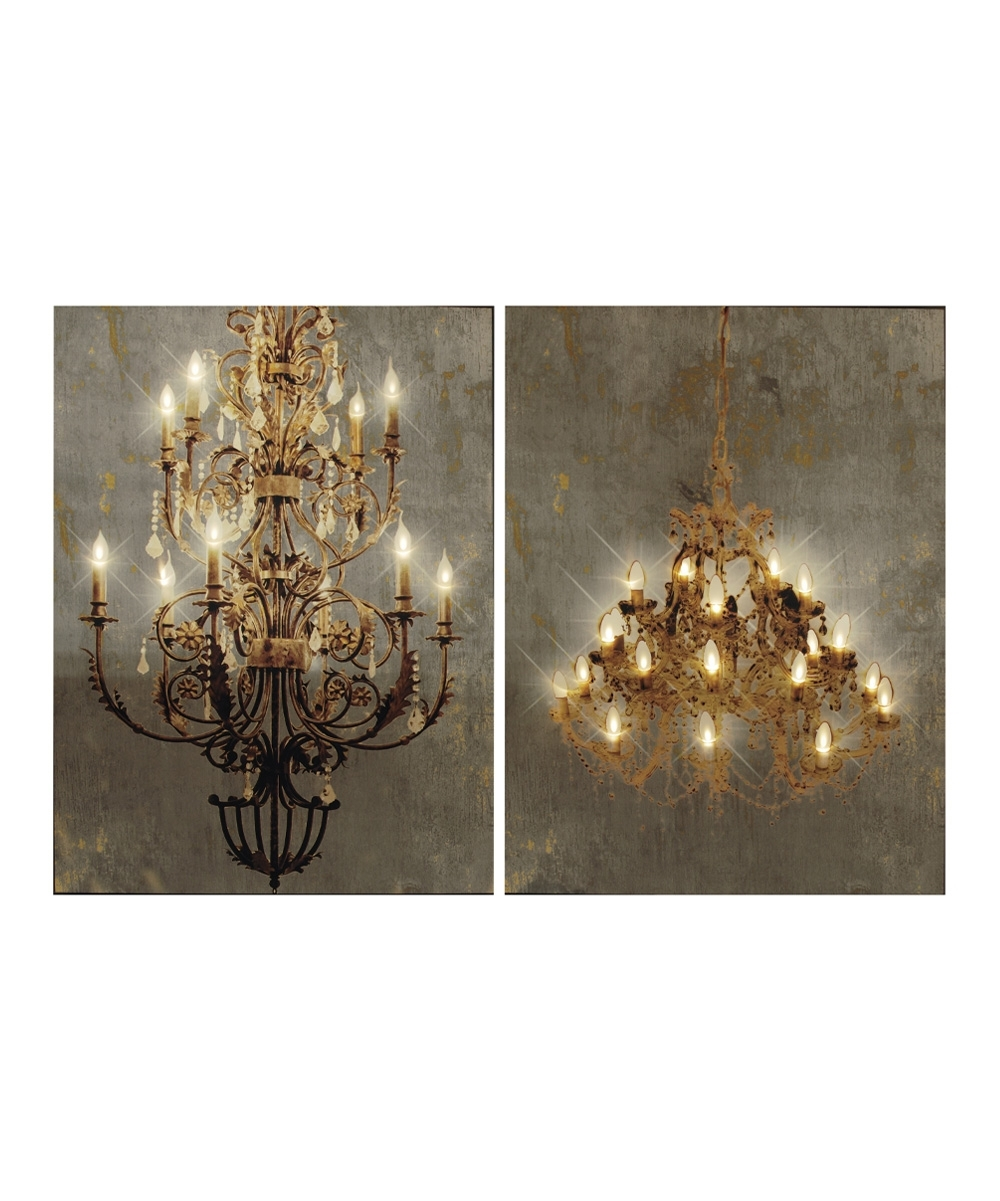 Chandelier Wall Art Intended For Most Recent Chandelier Light Up Canvas Wall Art – Set Of Two (Gallery 6 of 20)