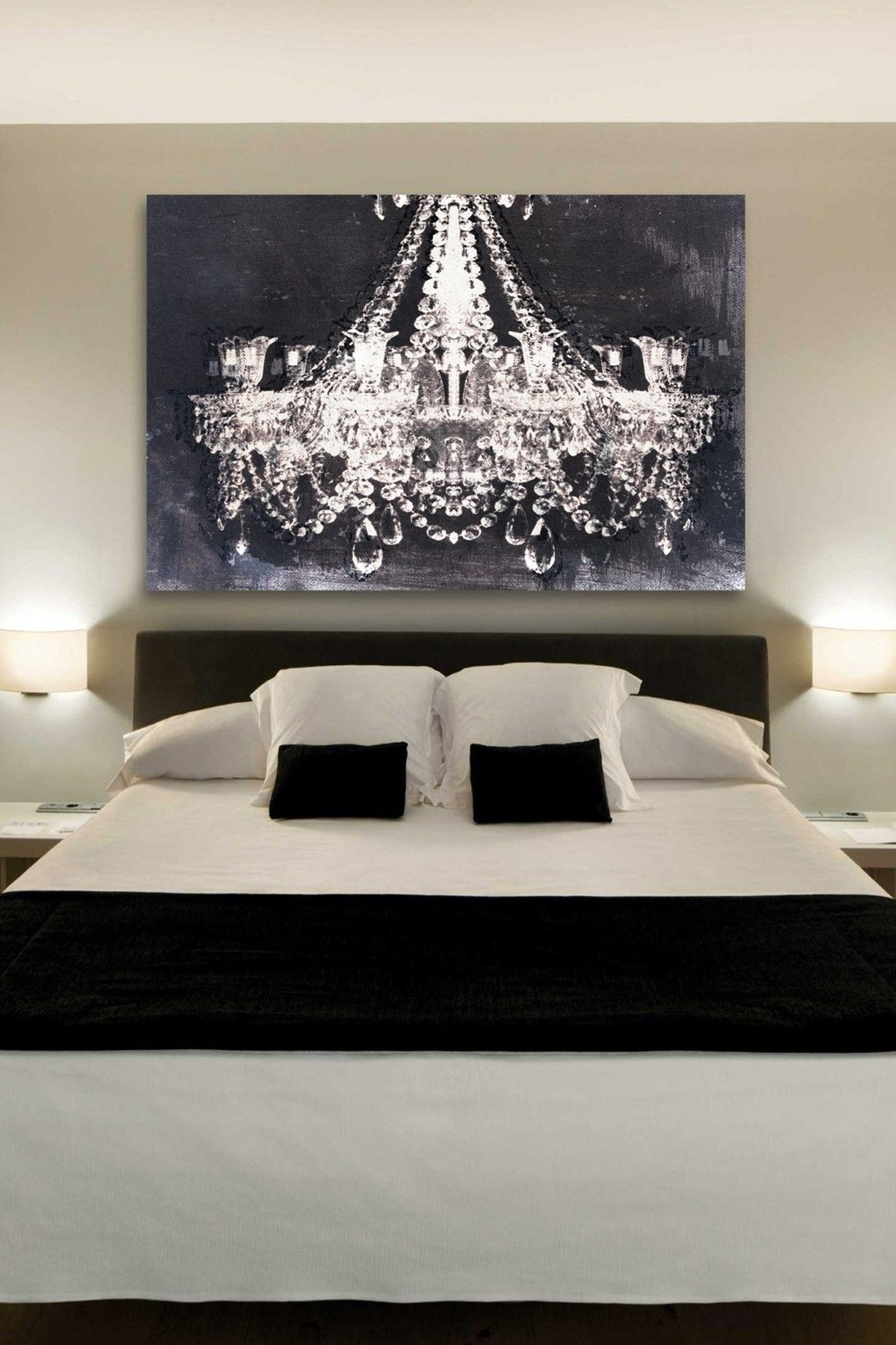 Chandelier Wall Art Within 2018 The Chandelier Art Gives Such A Romantic Touch To This Bedroom (View 12 of 20)