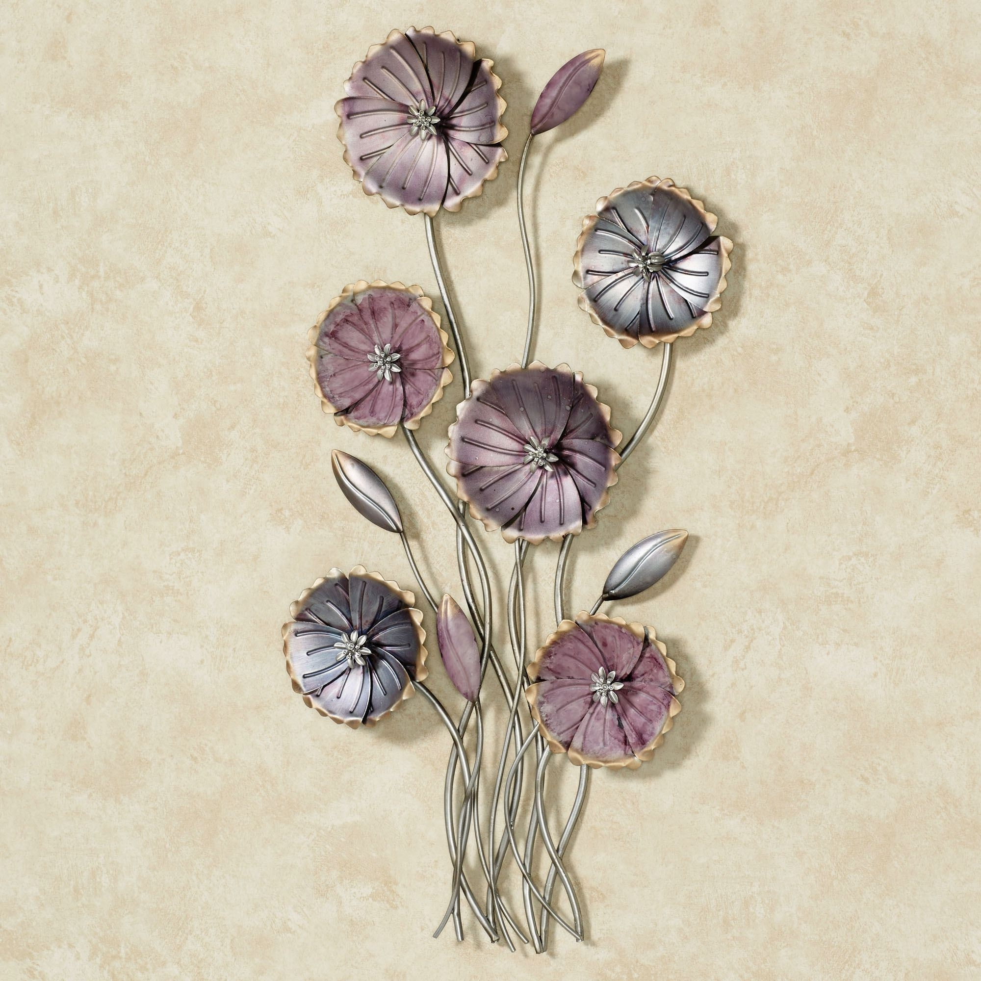 Charming Floral Array Purple Metal Wall Art Throughout 2017 Metal Flowers Wall Art (View 11 of 20)