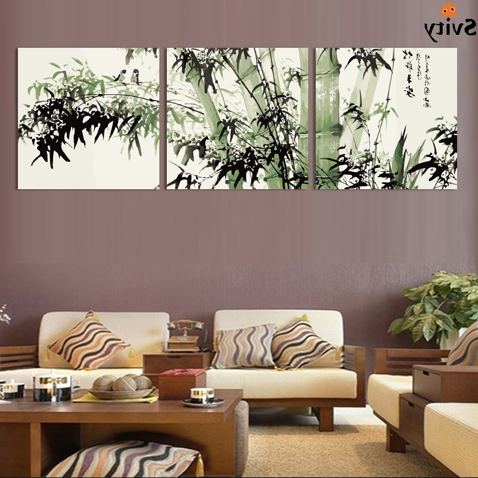 Cheap Large Wall Art Regarding Favorite Fashion Large Canvas Art Cheap Modern Abstract Bamboo Canvas Wall (View 4 of 20)
