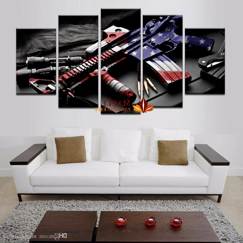 Cheap Large Wall Art Within Preferred 2018 Wholesale Large Wall Art Hd Printed Gun Home Decorative (View 9 of 20)