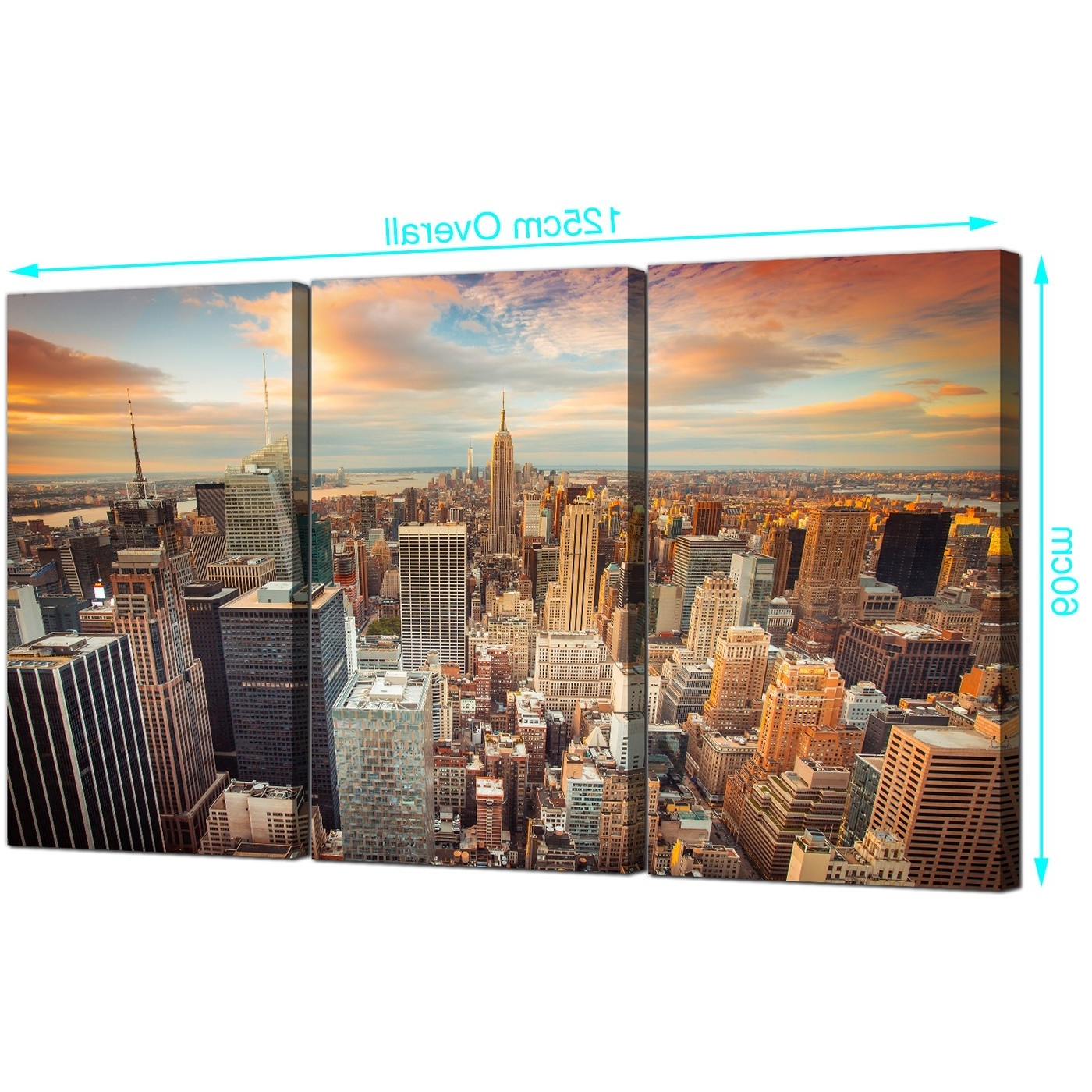 Cheap New York Skyline Canvas Wall Art 3 Panel For Your Living Room Regarding Well Known New York Canvas Wall Art (View 2 of 15)