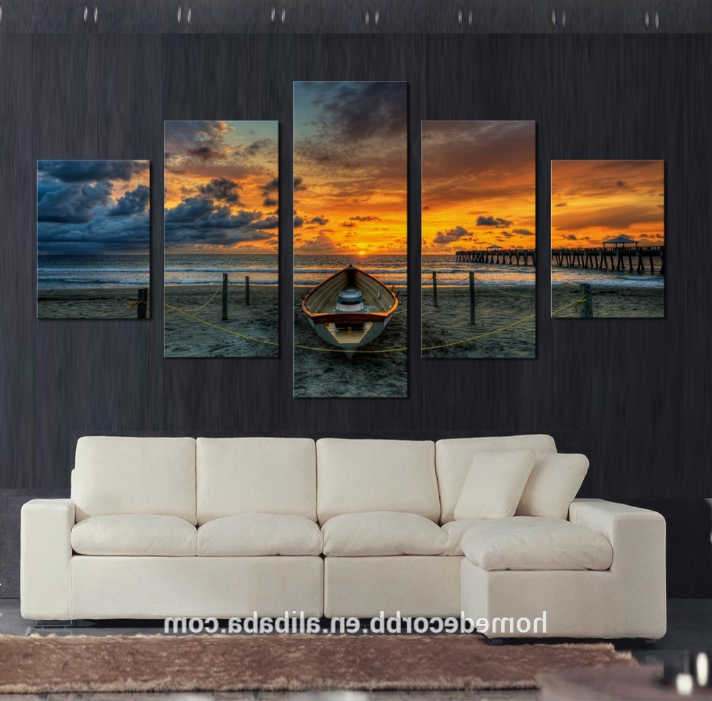 Cheap Wall Art Canvas Paintings,5 Set Seascape Sunset View Canvas Throughout Favorite Cheap Wall Art (View 14 of 15)