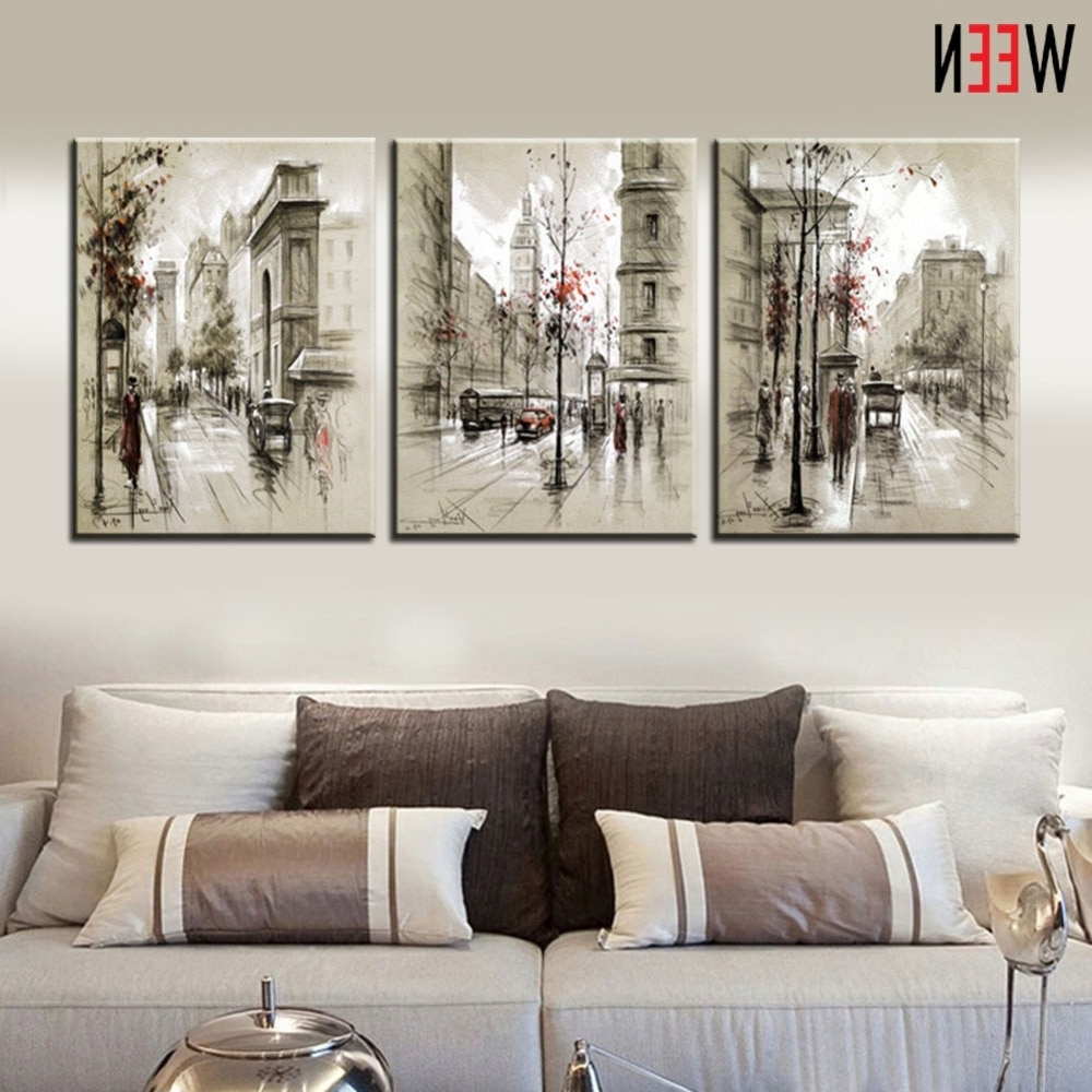 Cheap Wall Art Within Widely Used Canvas Printings Retro City Street Landscape 3 Piece Modern Style (View 7 of 15)