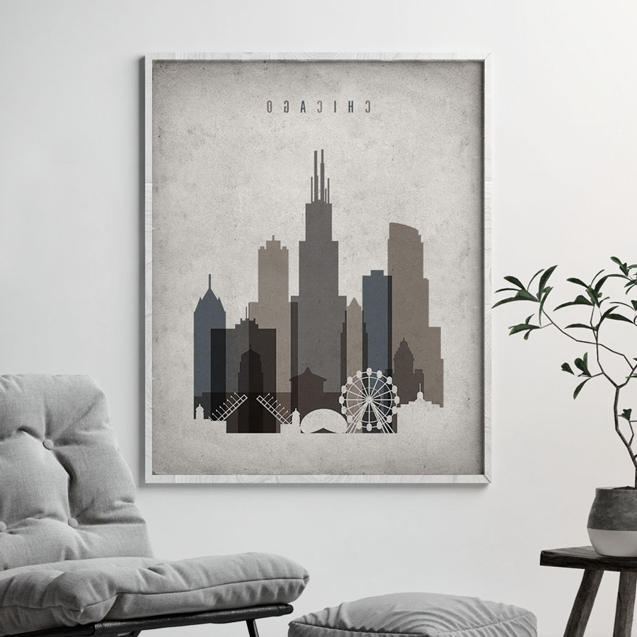 Chicago Skyline Wall Art Retro (View 3 of 15)