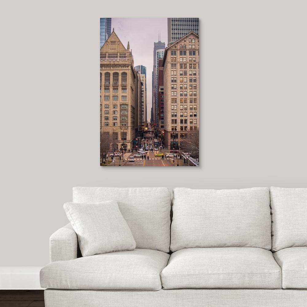 "Chicago Wall Art In Trendy Greatbigcanvas ""street Scene In Chicago, Illinois""circle Capture (Gallery 11 of 15)"