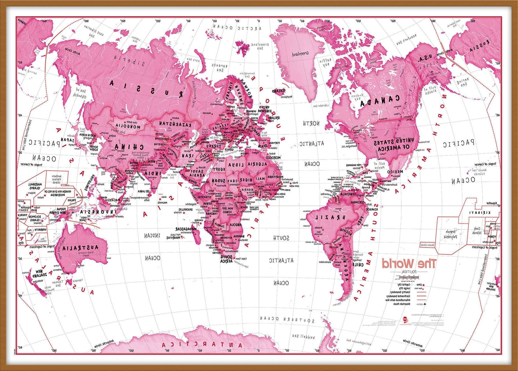 Children's Art Map Of The World Pink Poster Wall Art With Size Intended For 2017 Pink Wall Art (View 6 of 20)