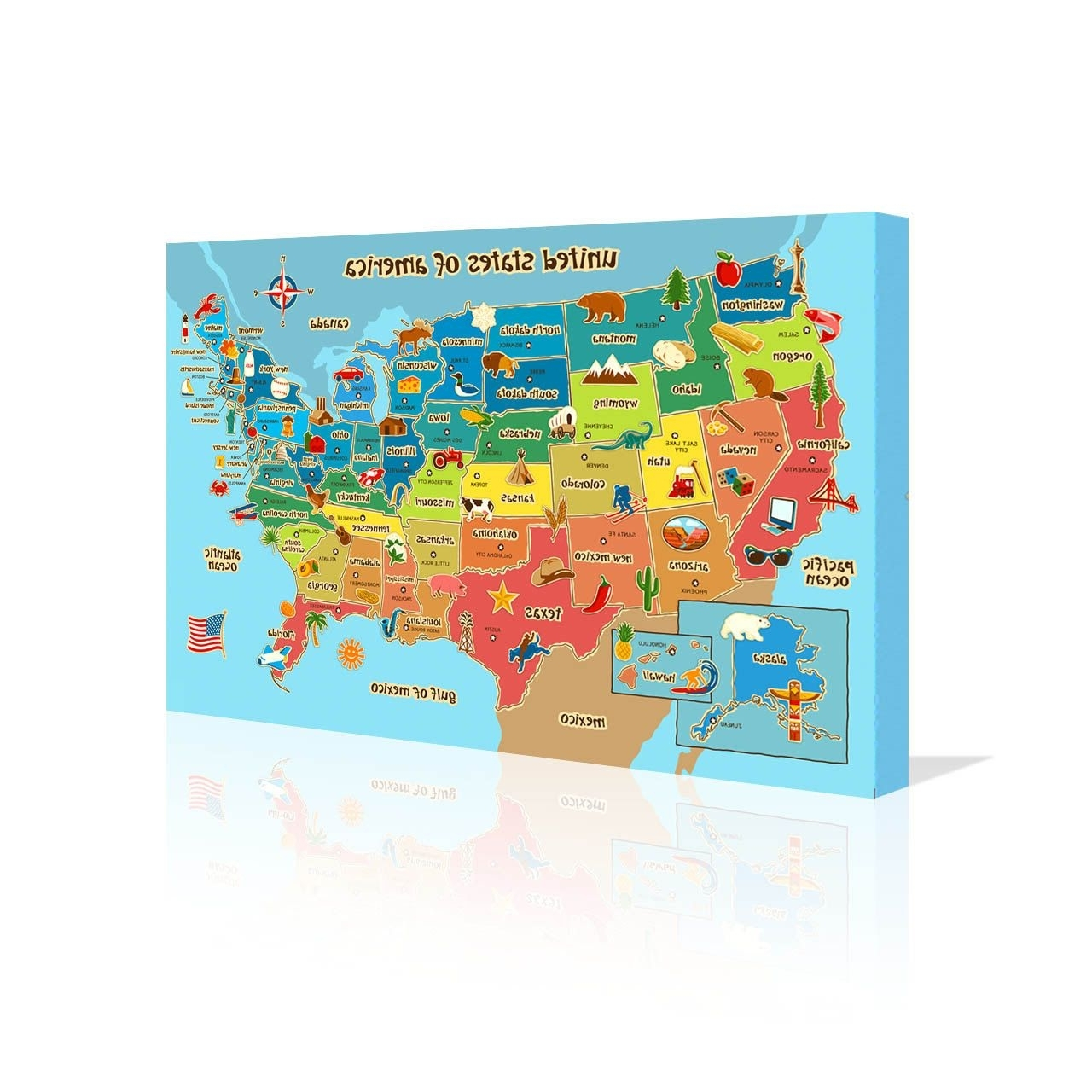 Children's Map Of Usa Canvas 20 X 12 24 X 16 Wall Art Fun Gift With Regard To Most Up To Date Usa Map Wall Art (Gallery 16 of 20)