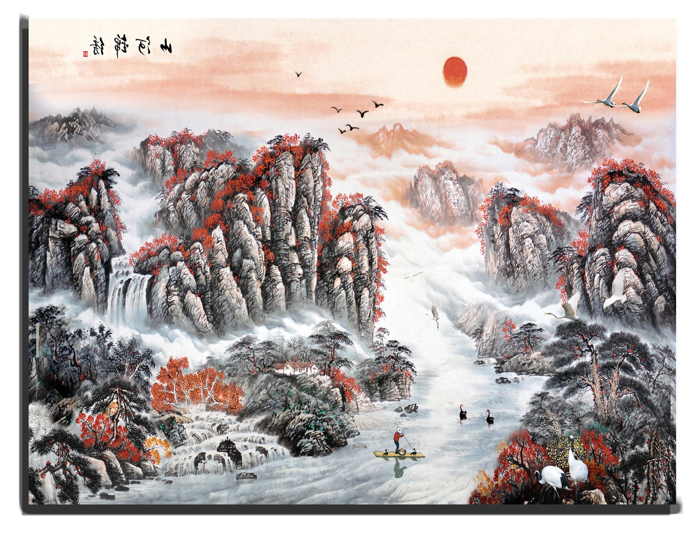 Chinese Wall Art In Most Recently Released Canvas Wall Art Chinese Mountains And River With Rising Sun 90 X  (View 3 of 20)