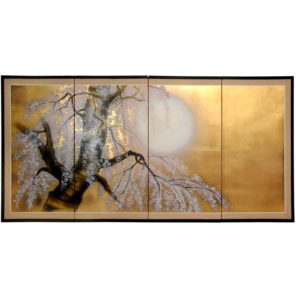 "Chinese Wall Art In Most Up To Date Amazon – Oriental Furniture 36"" Gold Leaf Sakura Blossom – Wall (View 4 of 20)"