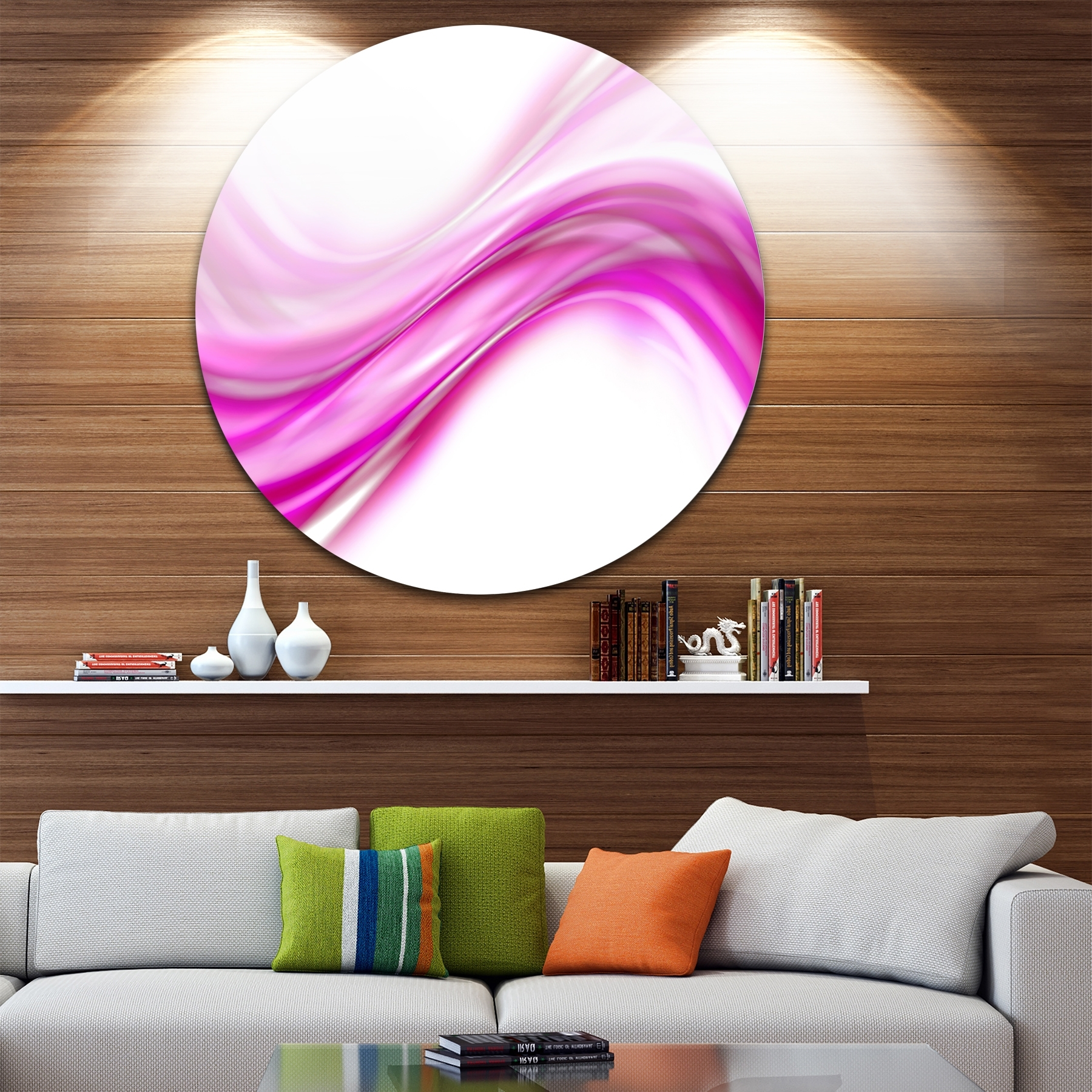 Circle Wall Art For Most Current Shop Designart 'pink Abstract Waves' Abstract Digital Art Circle (Gallery 13 of 20)