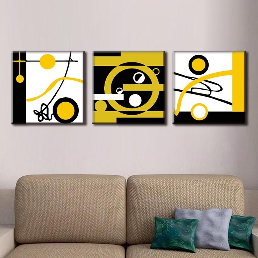 Circle Wall Art Intended For Newest 3 Pcs/set Abstract Canvas Wall Art Blocks Of Color And Circle Canvas (Gallery 6 of 20)