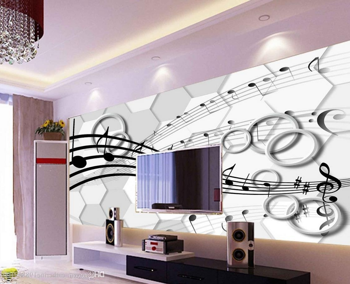 Classic Home Decor 3D Stereo Three Dimensional Note Circle Tv Wall Throughout Most Popular 3 Dimensional Wall Art (View 11 of 20)