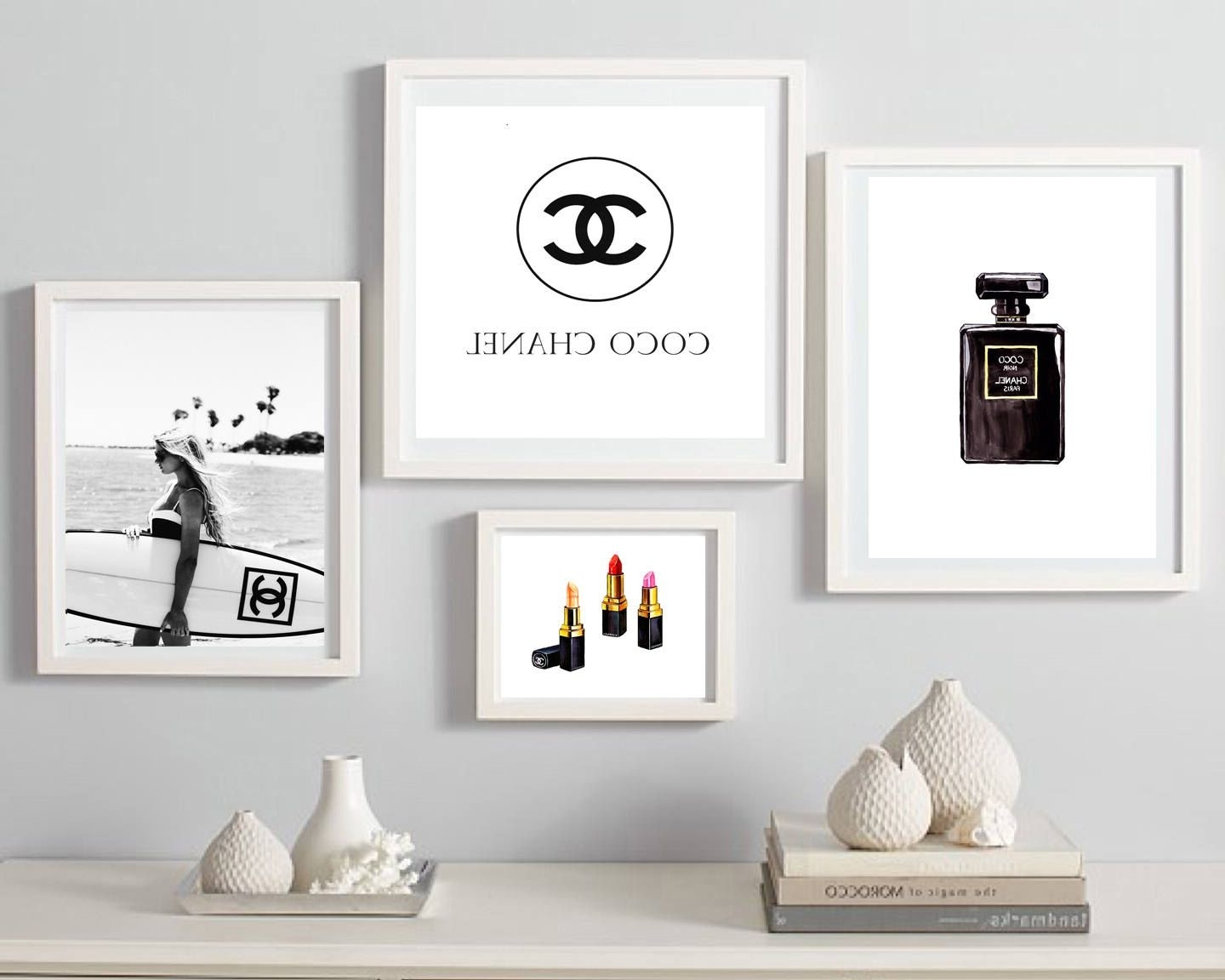 Coco Chanel Print, Fashion Wall Art, Set Of 4 Wall Decor, Coco Regarding Most Recently Released Fashion Wall Art (Gallery 3 of 20)