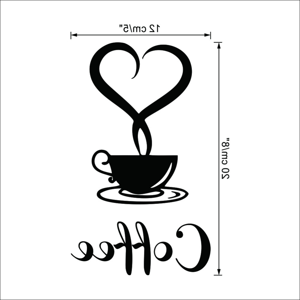 Coffee Wall Art Regarding Most Up To Date Coffee Shop Sign Modern Wall Decor Decals Home Decorations 361 (Gallery 5 of 15)